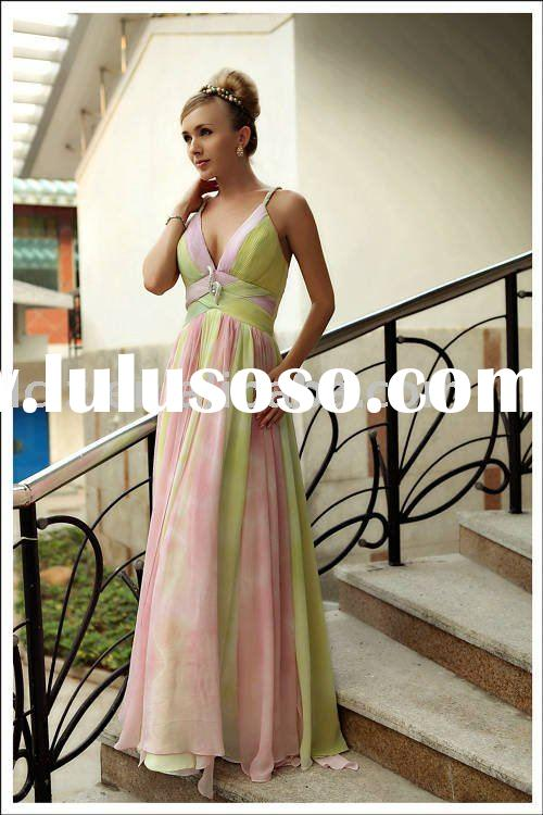 Dropshipping breathable D30250 pink,yellow prom gown spaghetti straps sequins Empire backless taffet