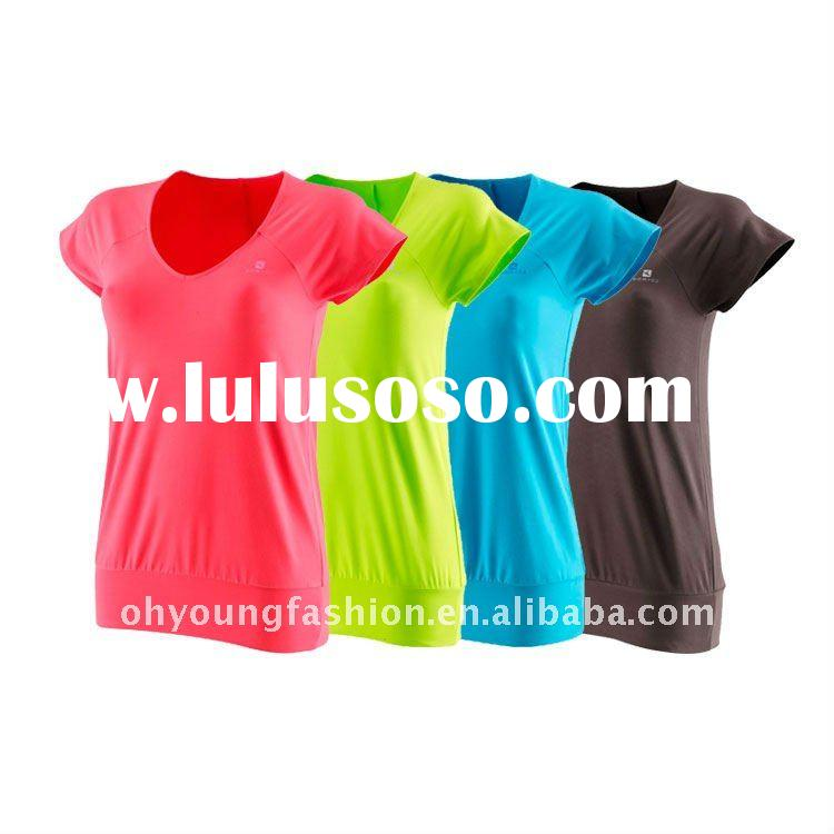 High quality and sound price women plain color short sleeve customized tight fit v neck t-shirt
