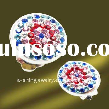 Hottest Selling Fancy Pattern Sterling Silver Crystal Round shape Clip On Earring