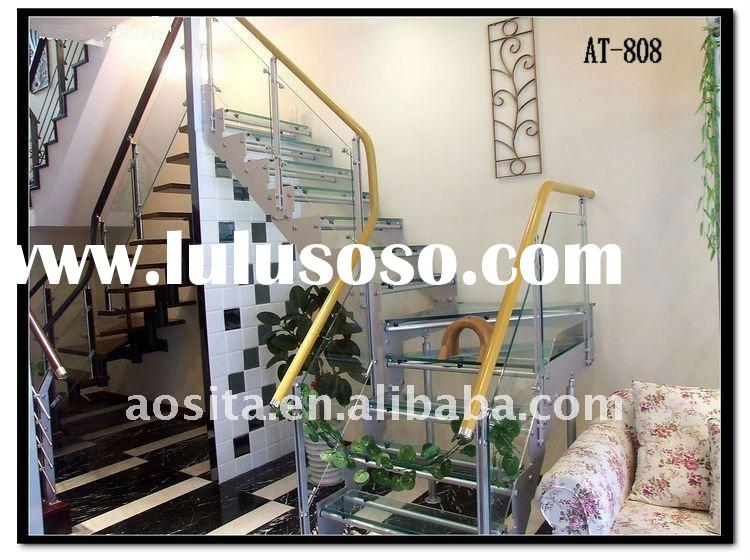 Indoor stainless steel and glass handrails for stair