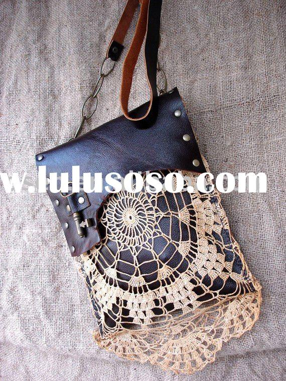 Leather Festival Granny Bag with Vintage Lace and Antique Key - Gypsies, Tramps & Thieves/Genuin