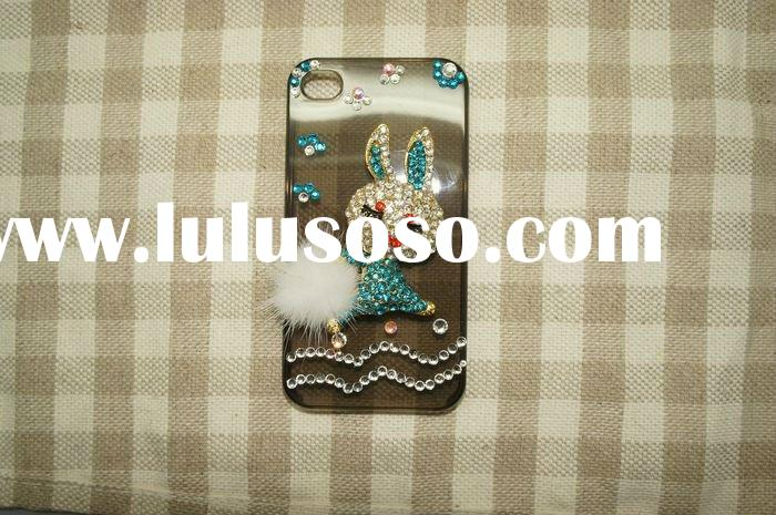 Luxury Blue Rabbit decorative cell phone cases with Shinning Vitreous Diamond for iPhone4&4s