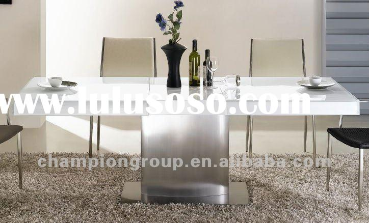MX-2827T Home furniture stainless steel base and super clear glass top dining table