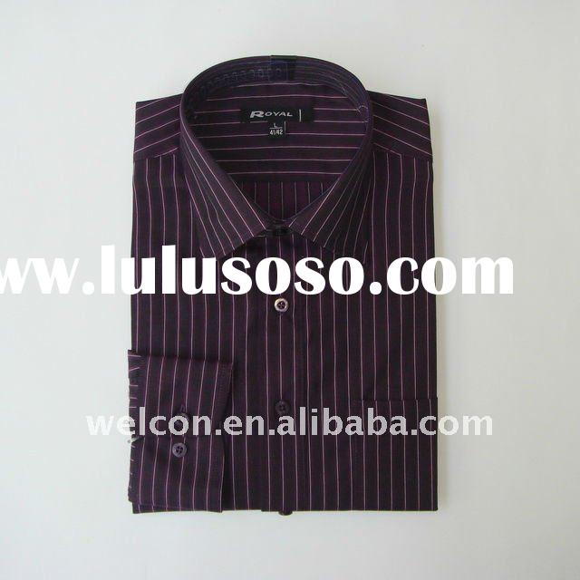 Men's classic 100% cotton long sleeve stylish purple and white thick stripe business dress s