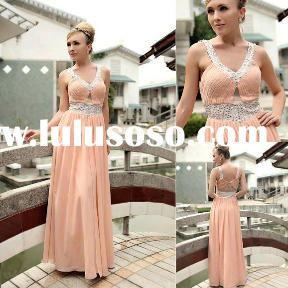 New design popular dress evening gown pink color sequins V-neck A-line hot sell drop shipping D30233