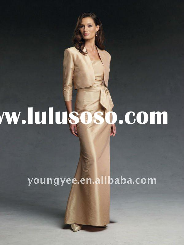 New style floor-length long sleeve mother of the bride evening dresses short sleeves(MBD10566)