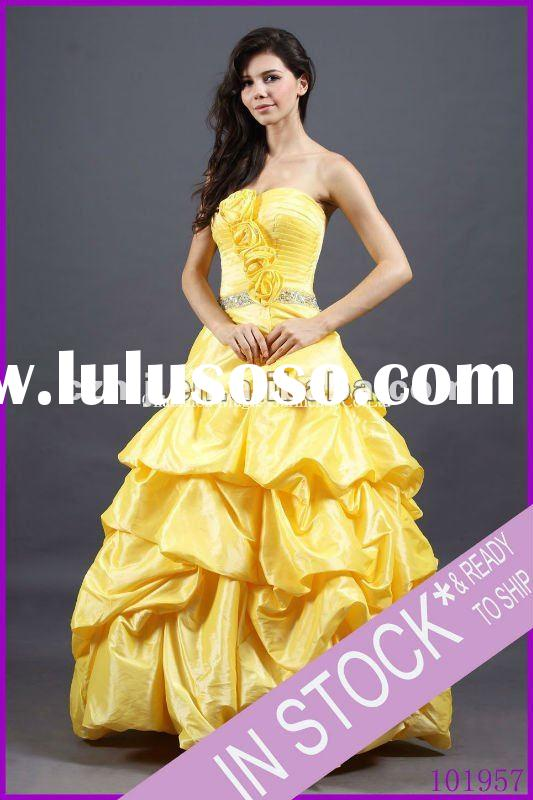 Spring 2012 beaded strapless pick up long taffeta prom dresses for prom