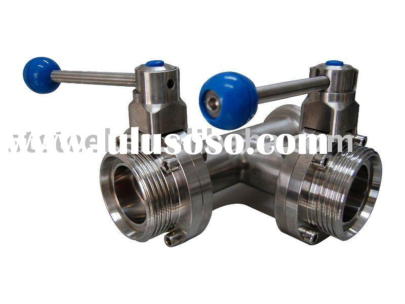 Stainless Steel Three-Way Threaded Butterfly Valve With Plastic Ball Handle