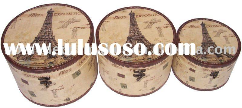 Wooden Round Storage Box & Decorative Storage Box & Paris Design