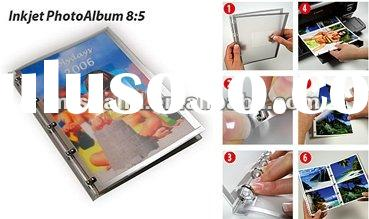 cast coated glossy wedding album with 3 binding rings,white cover,used by free software perfect DIY