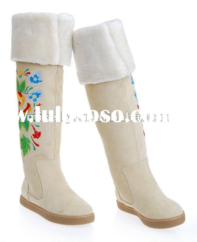 drop ship ladies fashion red fur winter white boots 2012