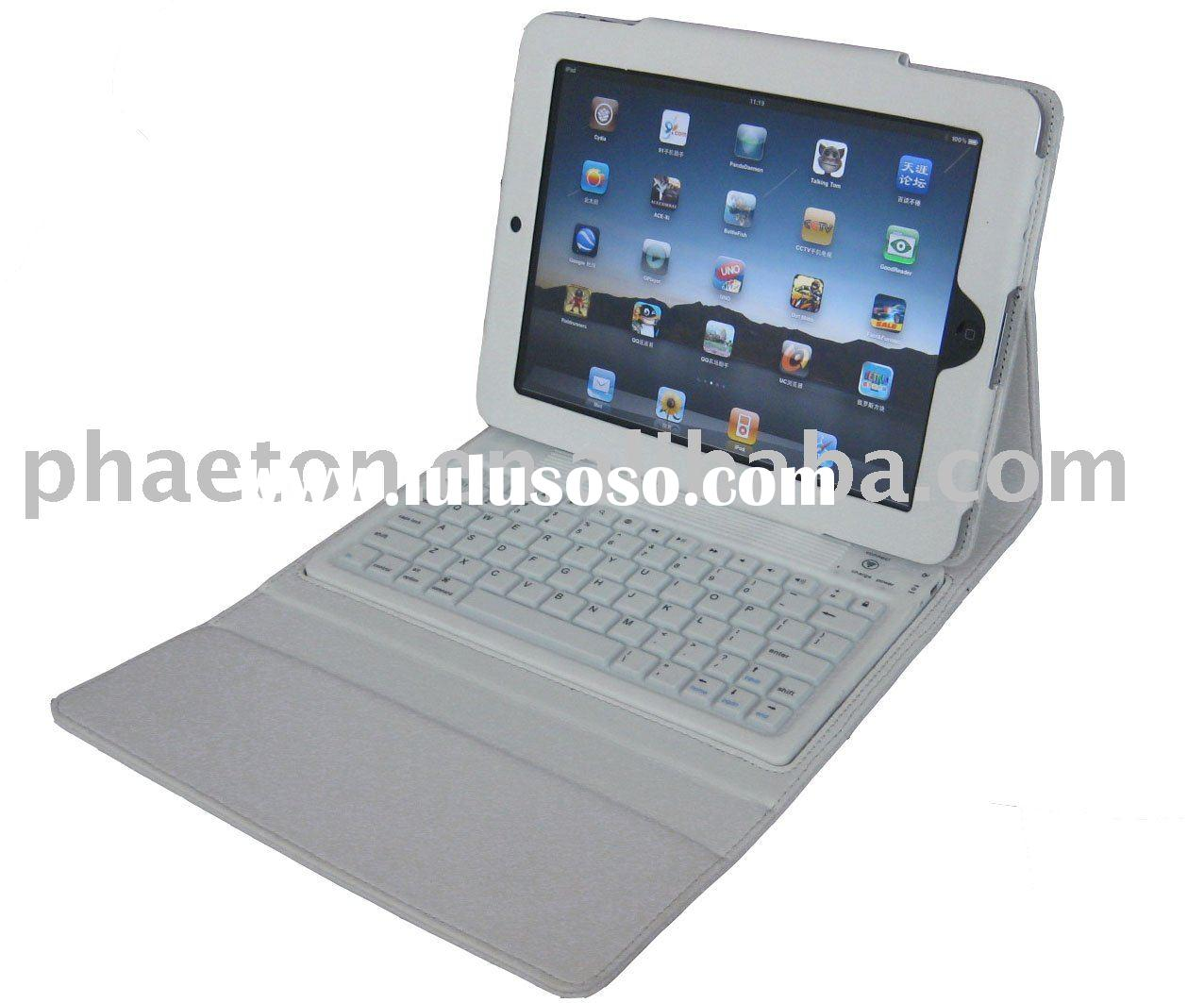 for iPad leather case with silicone bluetooth keyboard
