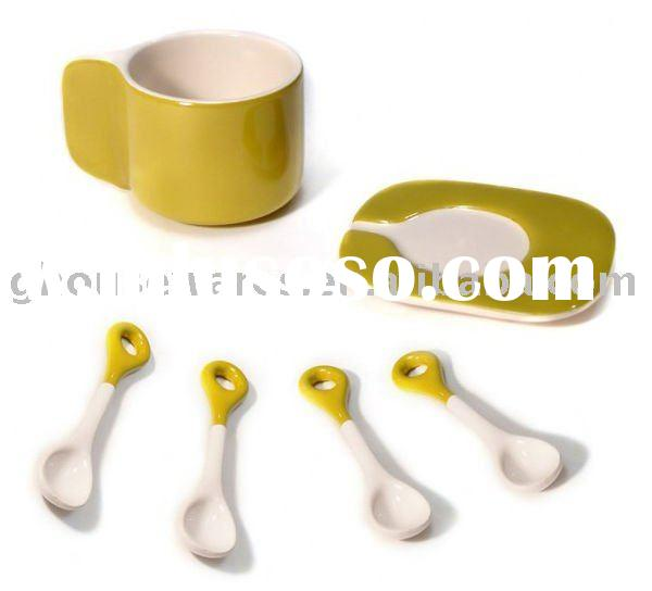 modern ceramic cup saucer with spoon