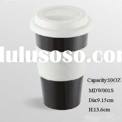 10OZ Double wall with silicone lid ceramic travel mug