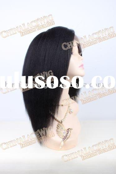 10 inches Black hair kinky yaki Indian remy human hair lace full wigs
