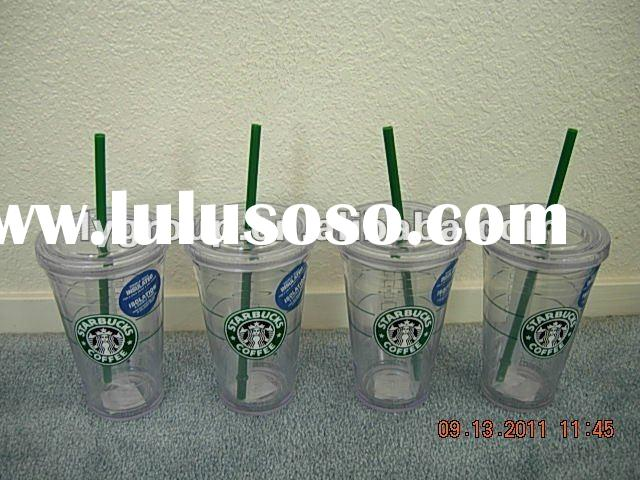 16oz Double Walled Tumbler with Drinking Straw, Clear with Purple Lid