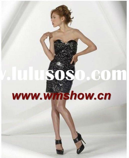 2011 Latest Design High Quality Sweetheart Beaded Black Hello Kitty Party Dress