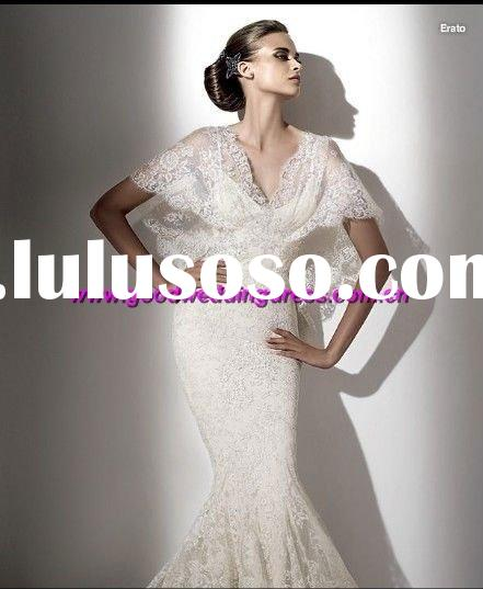 2011 New style hot sale elegant lace spaghetti strap&shawl mermaid wedding dresses