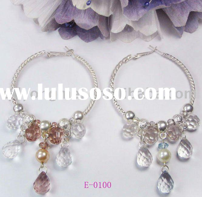 2011 newest design fashion jewelry costume elegant glass teardrop bead dangling large silver hoop ea