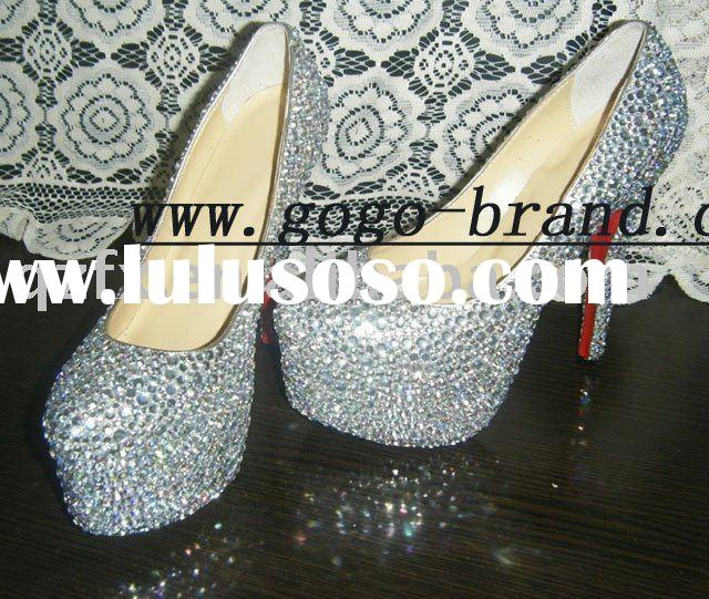 2012Crystal wedding shoes ,rhinestone bridal high heel shoes