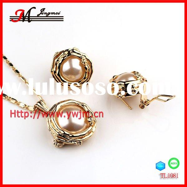 2012 new fashion indian bridal gold plated pearl jewelry necklace set