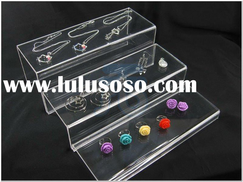 3 Layer Clear Acrylic Jewelry Display Risers Showcase Fixtures