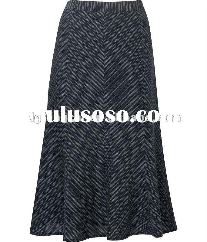 65% cotton 35% polyester striped long skirts for women