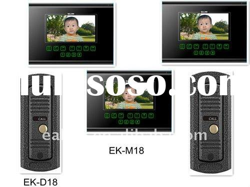 "7"" handfree color video intercoms with DVR function,and support two door bells"