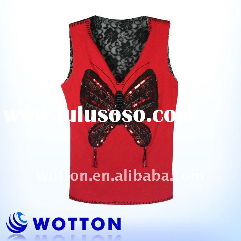 95%Cotton 5%Span knitted lady blouse back neck design with lace back tank top