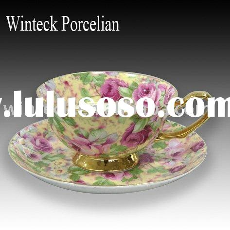 Applique New Bone China Tea Cup and Saucer