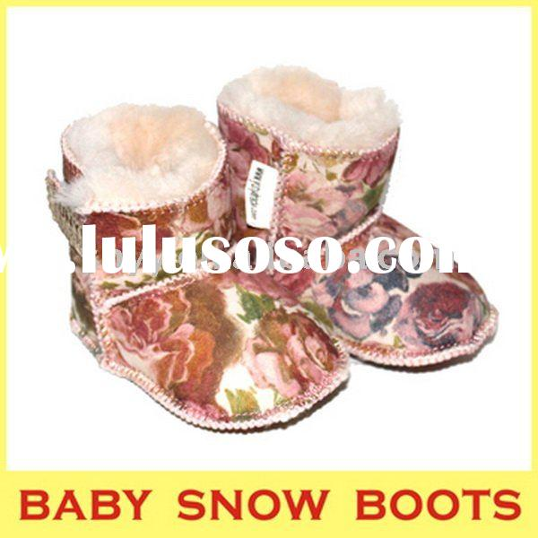 Baby snow boots rose pattern soft sole warm cheap baby boots