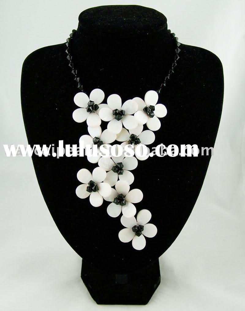 Black onyx&shell flower necklace/earring set 925