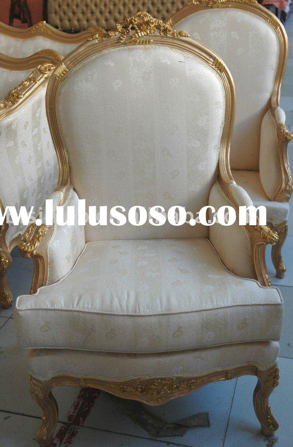 French living room single sofa arm chairs hand carved for Single seats for living room