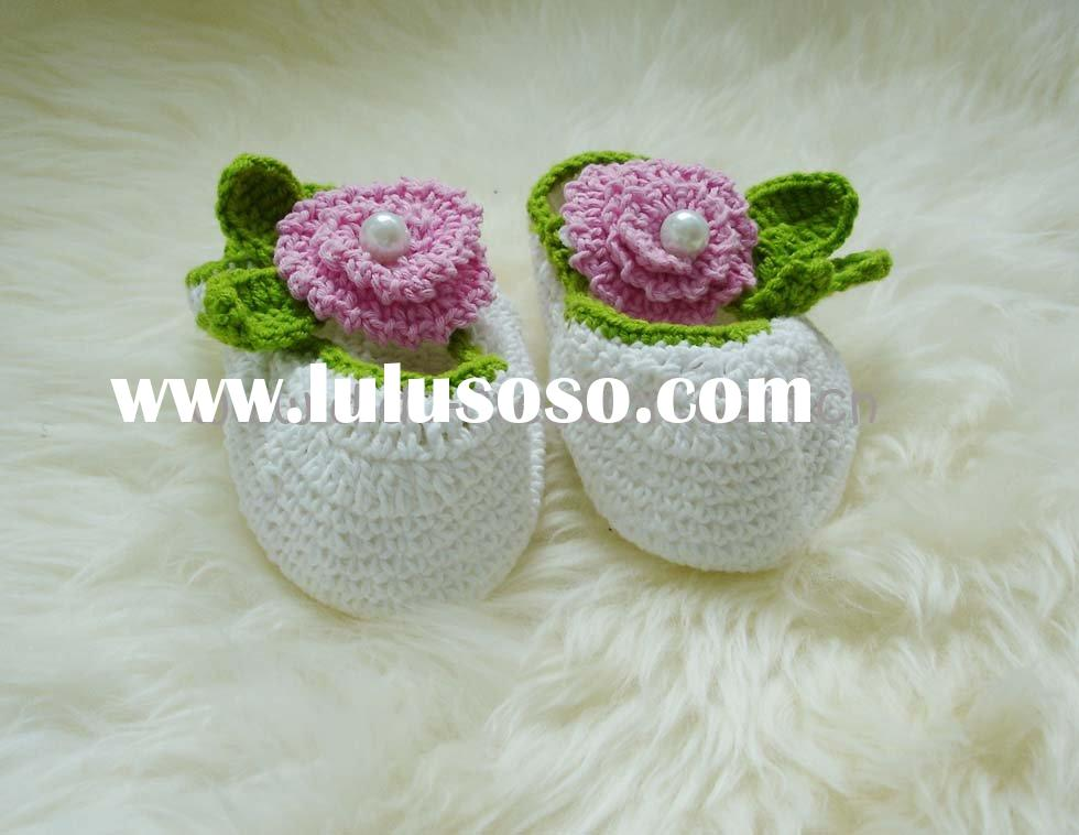 DD07022B Handmade Crochet flowers Baby Shoes footwear cotton knit fabric shoe
