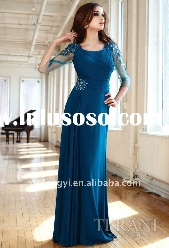Elegant scoop neckline ruched bodice column long chiffon affordable formal mother evening dresses wi