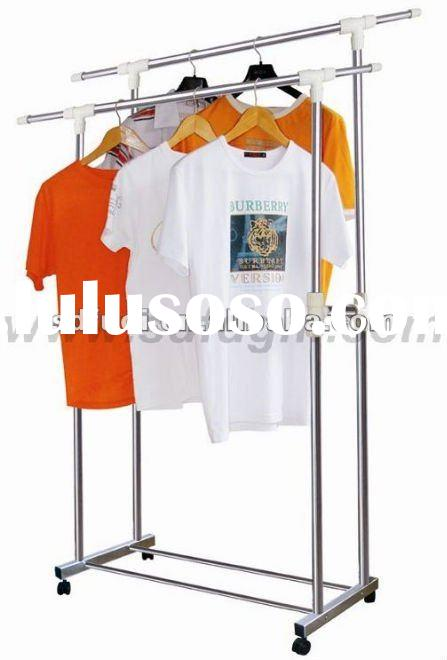 Extendable Stainless Steel Double-Pole Clothes Rack Stand/Clothes Rack