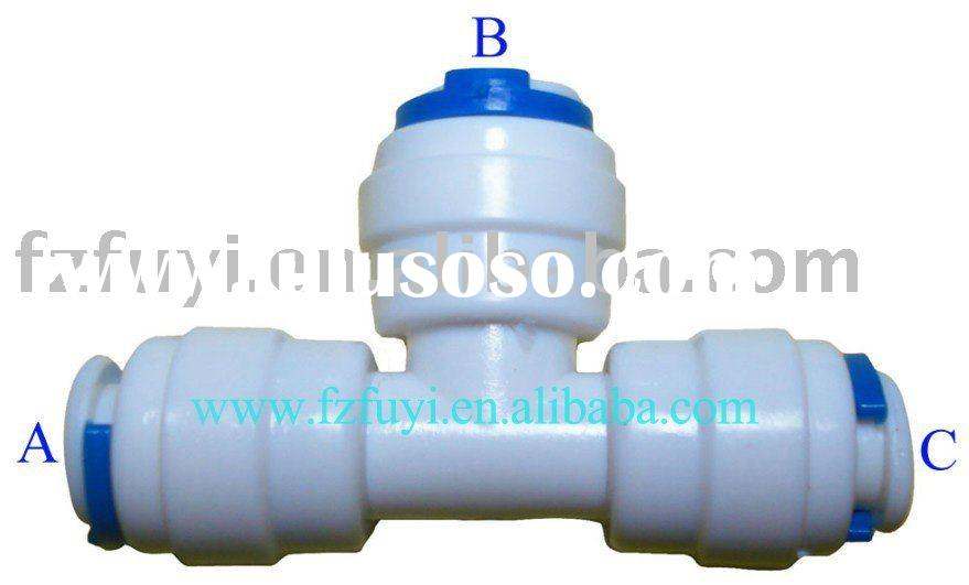 """FY007B Union Tee adapter (equal 3/8""""tube) plastic water purifier parts quick coupling"""