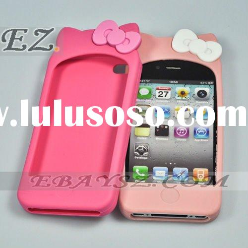 Hello Kitty Double Bow Silicone Soft Case Cover for iPhone 4 4G LF-0117 Wholesale / Retail
