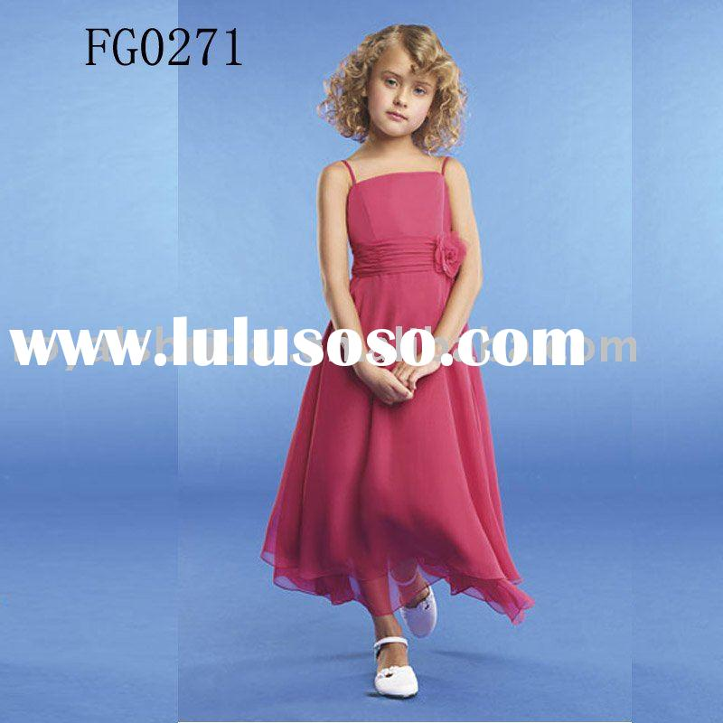 Kids Pretty Red Chiffon Party Dress Wedding Wear
