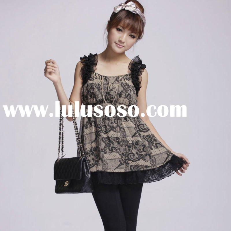 Lady's scoop neckline printed top suspender skirt/blouse/ tops with elastic at waist