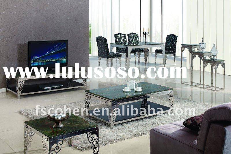 Marble top stainless steel frame dining table AH2128