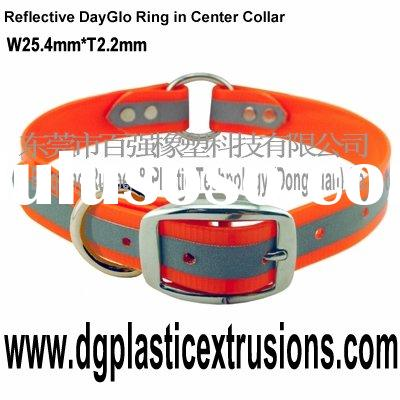 Reflective DayGlo Ring in Center Collar (reflective dog collar or Reflective Day-Glo dor collar )