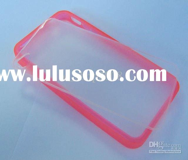 TPU Silicone Rubber Bumper Frame Soft Skin + Clear Plastic Hard Back Cover Case for phone 4 4S