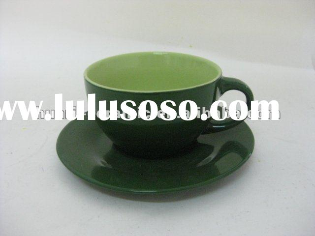 Tow color glazed ceramic cup & saucer