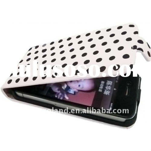 White with black dots Leather Case Cover for iPhone 4 4G with Polka Dots Pattern