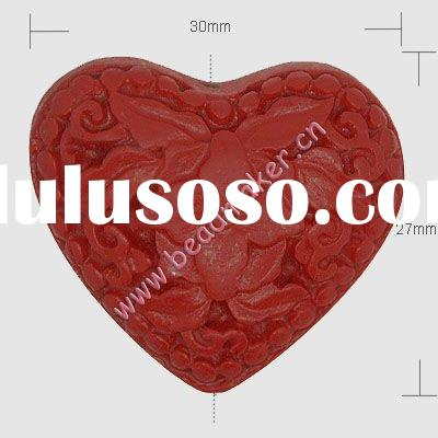 Wholesale Lacquer Beads Cinnabar Beads Flower Carved Red Heart Fashion Beads Necklace Bracelet Jewel