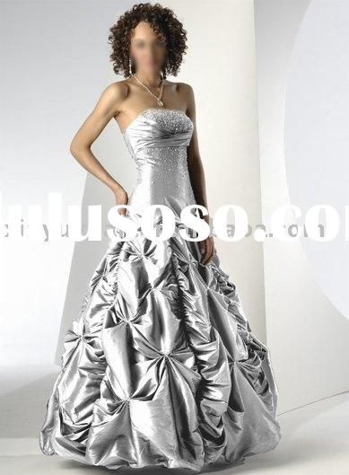cheap crew neckline ball gown with intricate pleats MAE-130