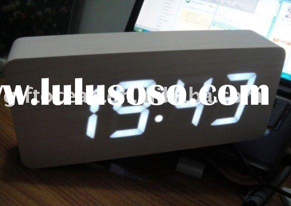 digital LED wooden clock (L15*H10cm,date temperature display)