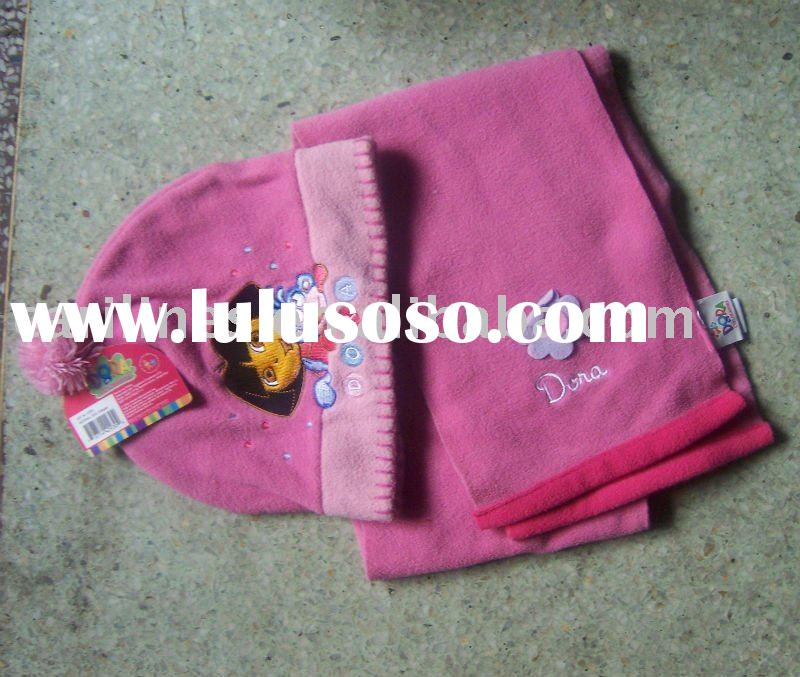 lovely kids polar fleece hat and scarf sets
