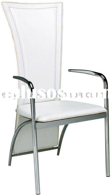 modern metal white leather dining room chair